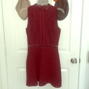 Storee XS red dress cutouts embroidered collared